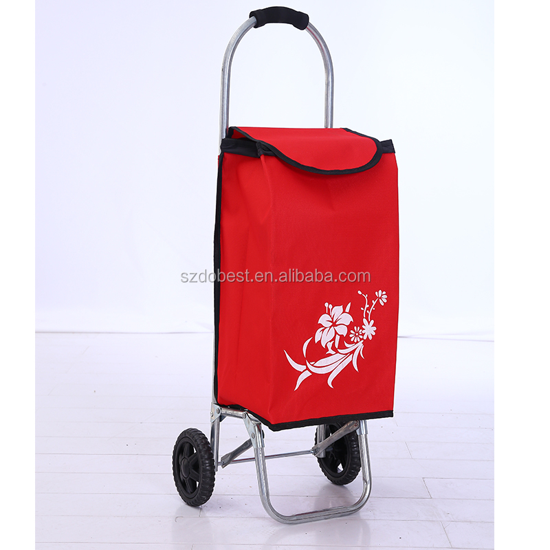 Popular folding grocery shopping cart and Folding trolley supermarket two wheels shopping bag