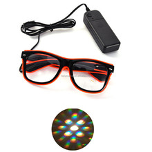 LED Flashing Shutter EL Wire Glasses,Rainbow Diffraction Glasses