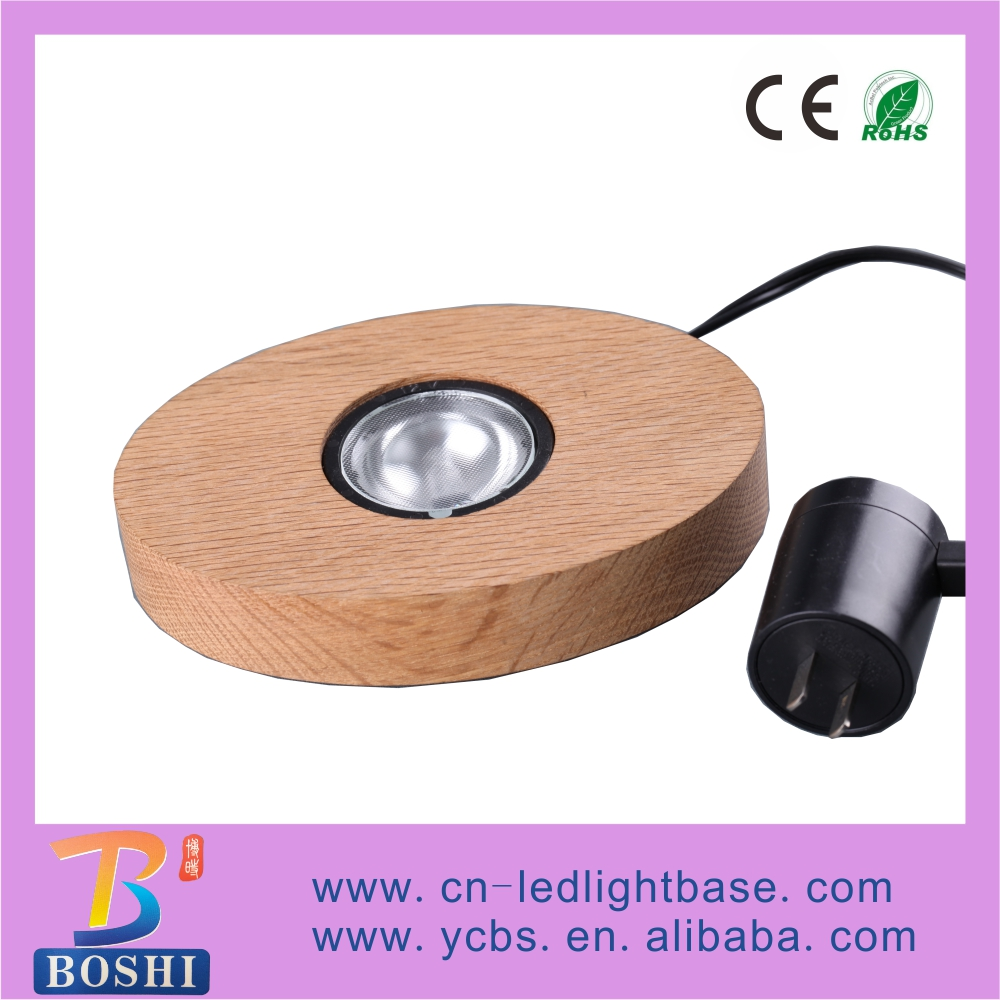 New ! Wood grain oval-shaped RGB flashing wooden base led light bottle glorifiers display