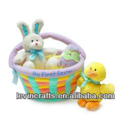 plush easter day rabbit toy basket with egg and duck