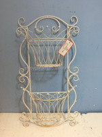 Outdoor wrought iron wall planter with 2 baskets