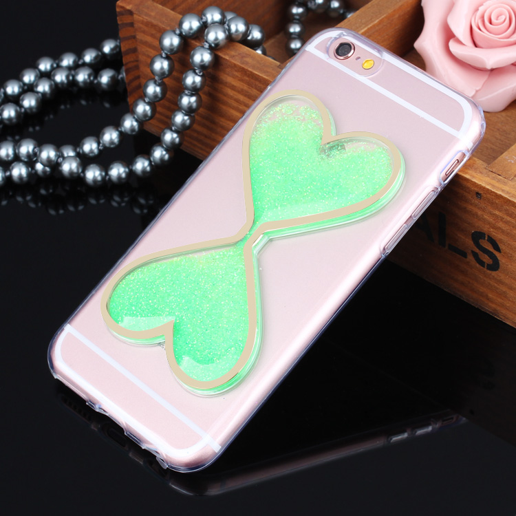 Hot Selling 3D Liquid Quicksand heart shape case Custom Cell Phone Cases for iphone 6 plus