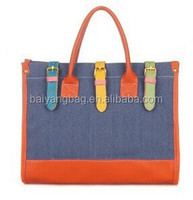 New design Korean leisure women linen shoulder bag contrast color