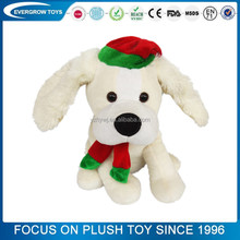 2017 high quality singing christmas musical plush dog toy