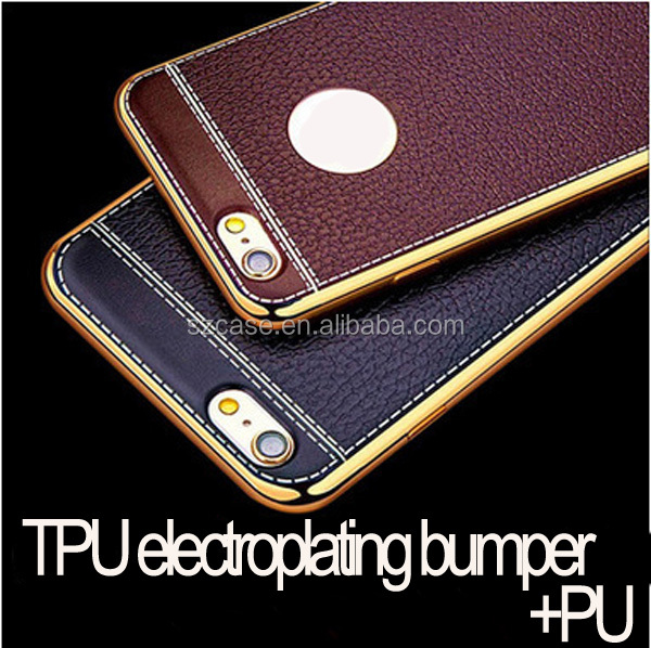 New factory direct custom leather cell phone case,for iphone 7 cover,tpu electroplating for iphone 7 case