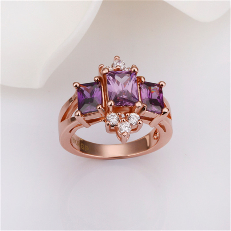 Newest rose gold diamond rings jewelry/women ring ,luxury zircon ring AR-004 Moonso
