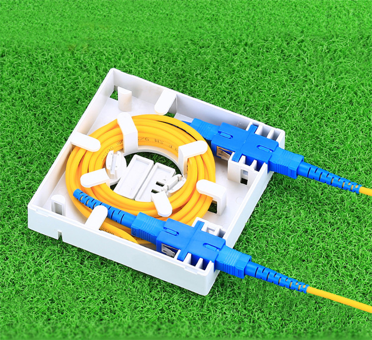 Indoor Wall Mounted 86*86mm Mini 2 Port FTTH Fiber Optic Telecommunications Outlet