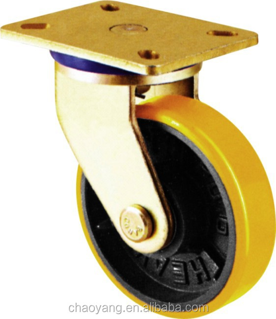 2015 hot sales good quality yellow pu caster wheel swiel china supplier 8 inch