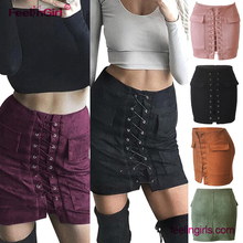 Best sale women autumn suede <strong>skirt</strong> lace up high waist mini bandage pencil <strong>skirts</strong>