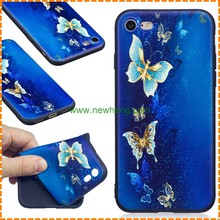 Matte Cell Phone Case for iPhone 7 plus , For iphone 7 TPU Case Blue butterfly