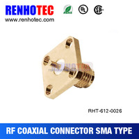 SMA plug panel receptacle flange 4 holes electrical SMA connector