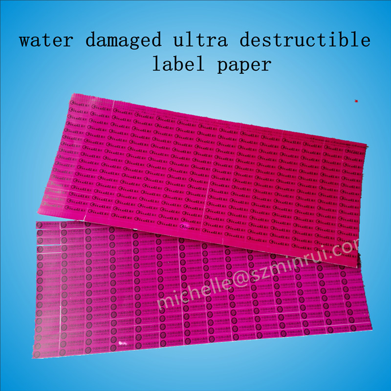 hot sale high security water damaged destructible label paper