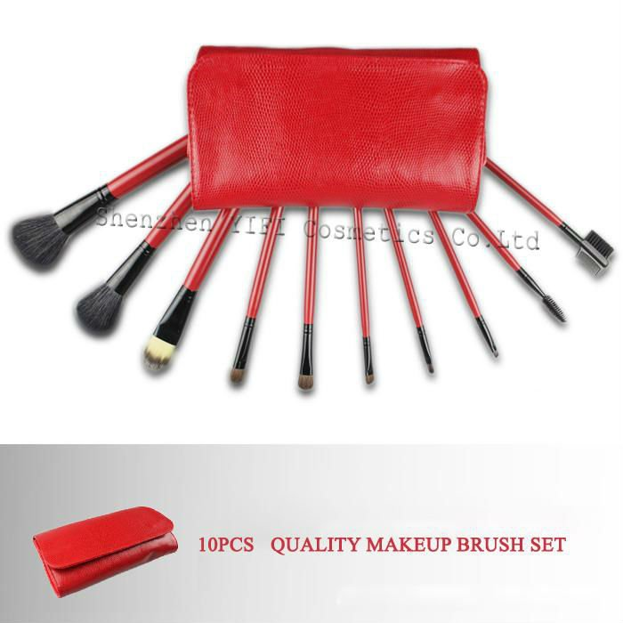 Hot Sale! Professional 10 pcs cosmetic brush red case