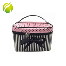 Fashion toiletry wash organizer bags bowknot printed cosmetic bag travel brush makeup artist bag