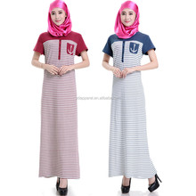 new Saudi Arabia short sleeve abaya striped cotton dress for muslim women