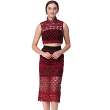 Sexy Wine Red Sleeveless Stand Collar Lace Blouse Patch Work Women Crop Top and Stitching Hollow Out Lace Midi Skirt
