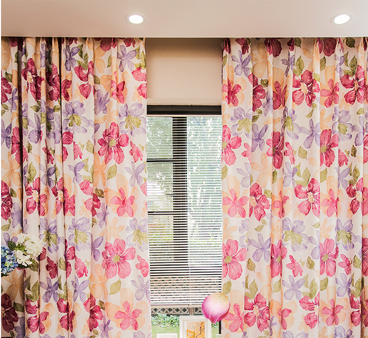 livingroom hotel fancy beautiful designed printed pink flower cotton polyester window curtain fabric