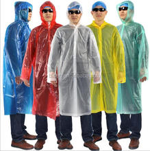 PE Disposable High Quality Rain Poncho With Sleeve