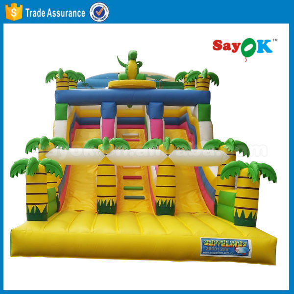 Hot selling palm tree inflatable water slide for theme park