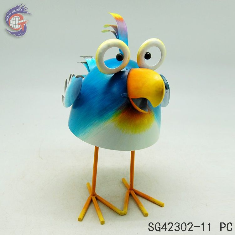 artificial metal garden blue bird figurines ornaments