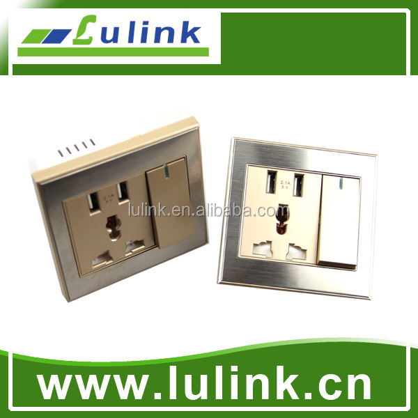 In-house-form design 1 gang 2 usb universal wall plate with USB charging for phone and electric device