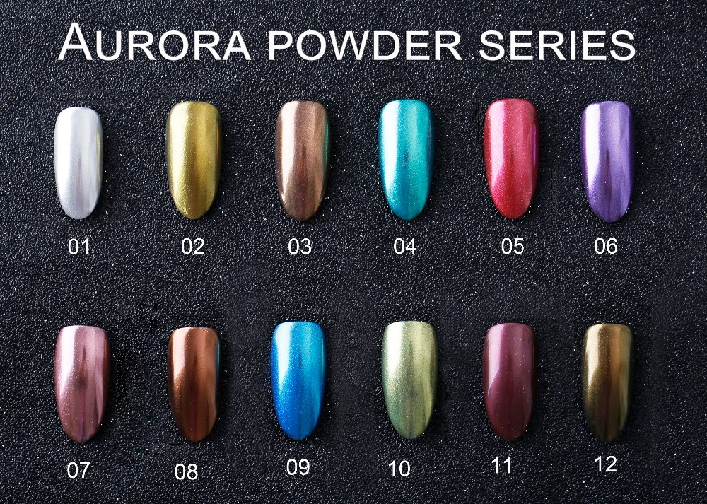 OULAC Aurora Powder Series 12 Colors Mirror Effect UV Nail Gel Polish