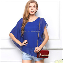 Womens clothing summer flouncing bat sleeves chiffon loose top blouse A833