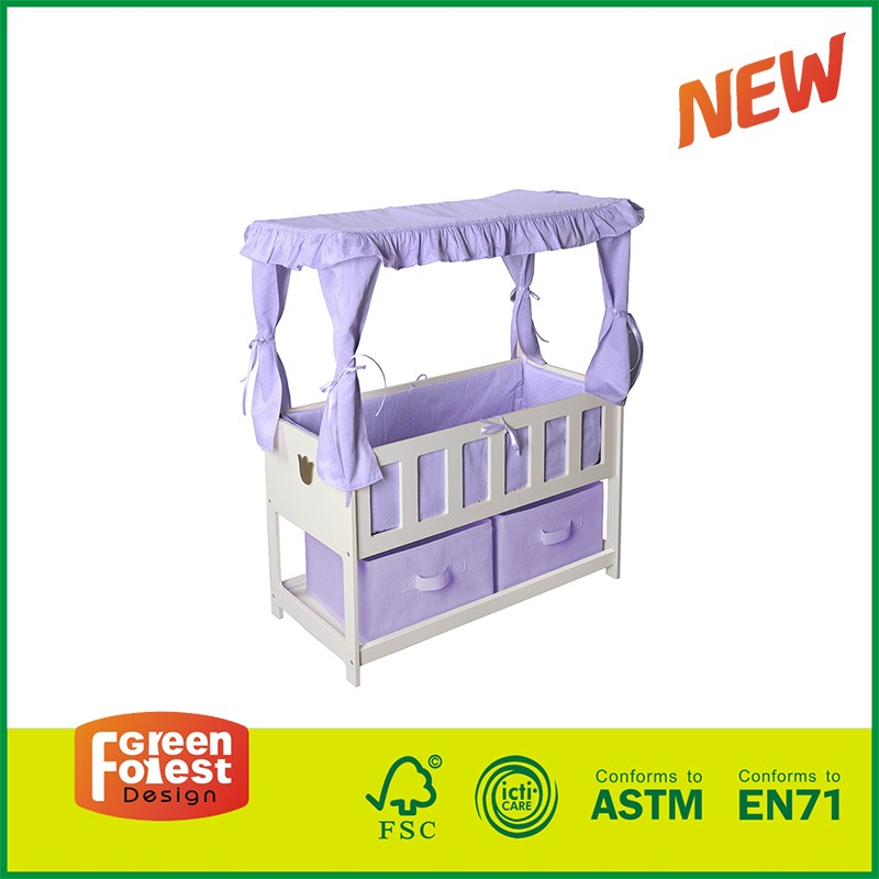 Kids pretending Toy canopy bed Kids Canopy Doll Crib 18inch doll furniture