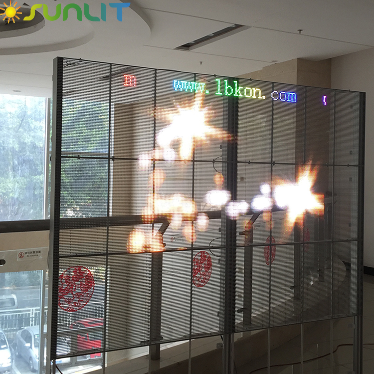 HD Transparent glass wall media facade video wall led display screen