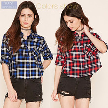 cheap autumn home classical women's plaid shirts loose casual long sleeve buttons up ladies latest blouses designs