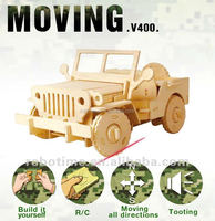 Wholesale wooden vehicle toys RC Cars Model DIY Puzzles