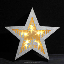 new led wooden christmas pentagram star wall hanging decoration light indoor new art ornament