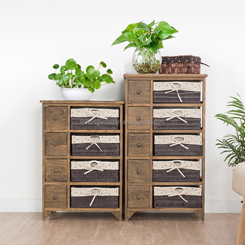 shabby chic wooden frame storage cabinet with wicker basket