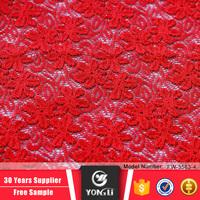 Warp knitted polyester garment fabrics Indian red thin lace fabric