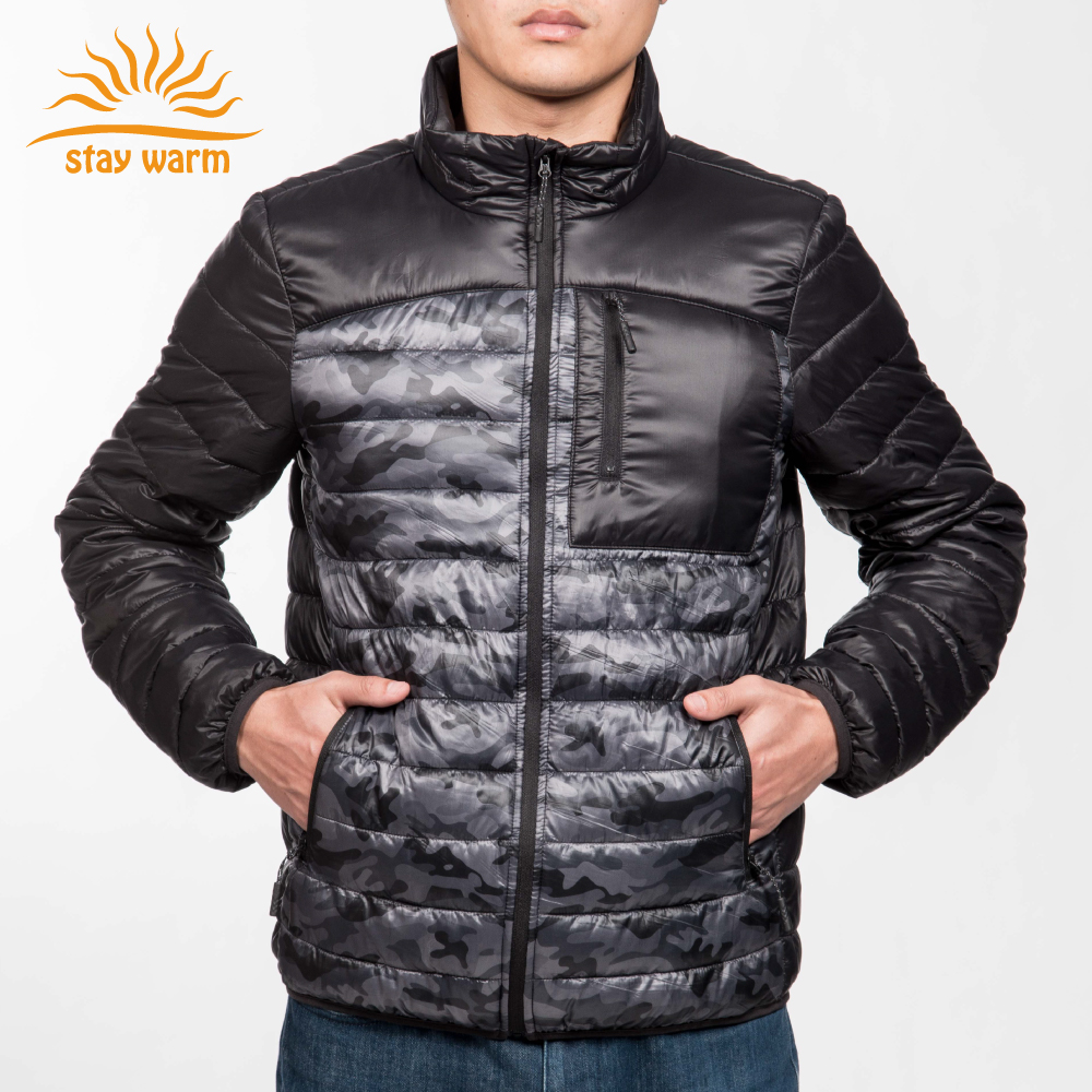 2017 fashion style men heated down jacket for winter custom