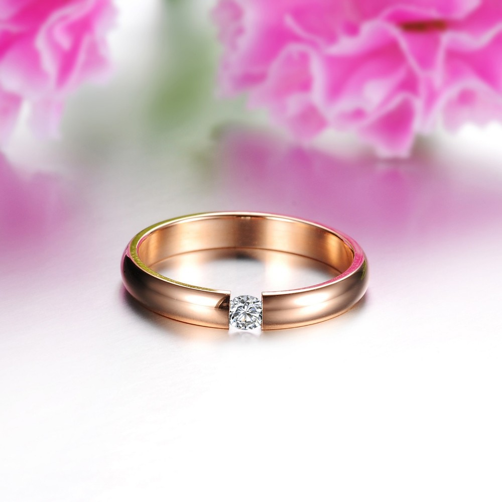 Tryme Classic Crystal Ring 18k Rose Gold/white/black Plated Wedding ...