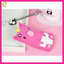 Most popularly and hot selling silicone rubber pig design for iphone 5 cute case