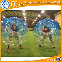 High quality funny Dia 1.5m 0.7mmTPU blue and clear bubble football,bubble ball soccer for adult