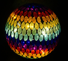 "10"" Mosaic gazing ball sphere with led light for indoor and outdoor"