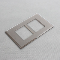 4mm.5mm.6mm etching matt finished Tempered Crystal Glass 2 Gang Control Switch Glass