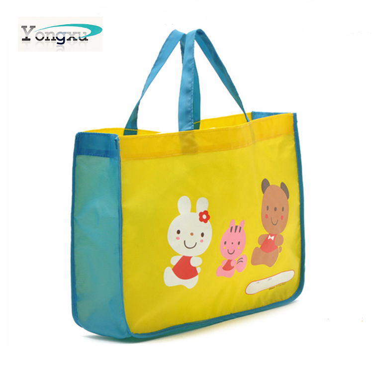 Eco-friendly personalized nylon shopping handbags, promotional waterproof nylon gifts tote shopping bags