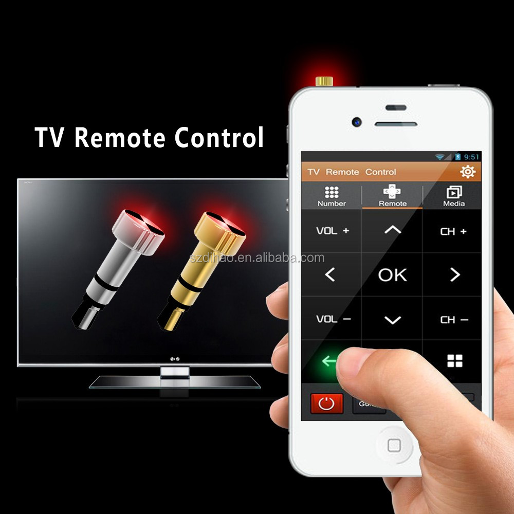 DIHAO IR Wireless Smart Remote Control Home Appliances Controller for iOS, 3.5mm Headset Jack for Air Conditioner/TV/DVD/STB