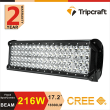 Heavy duty led light bar 24v led off road led light bar 3w quad row 216w led light bar