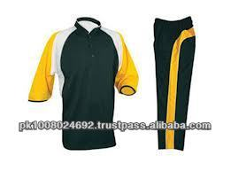 cricket uniform jersey pant green gold color