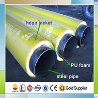 polyurethane foam coating hdpe casing bonded thermal insulation hot water pipe