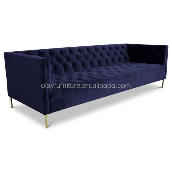 2017 new design Modern stainless steel blue velvet sofa living room <strong>furniture</strong>