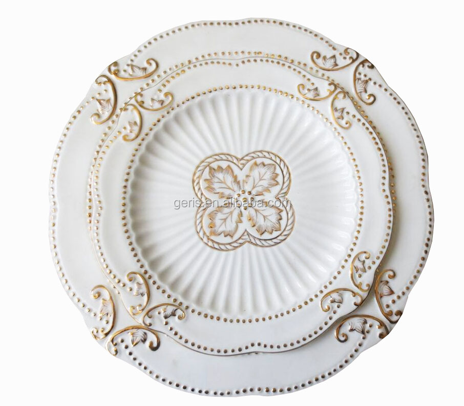 GRS white porcelain gold rim embossed plate ,gold rim charger plate