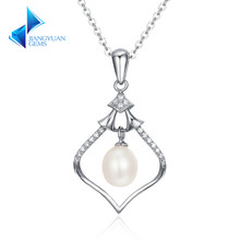 Authentic 925 Sterling Silver Magic Rhythm Box Freshwater Pearl Pendant Necklaces for Women Luxury Jewelry