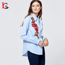 good quality fashion high low hem embroidered cotton lady shirt navy blue stripe woman blouse fashion cutting blouse