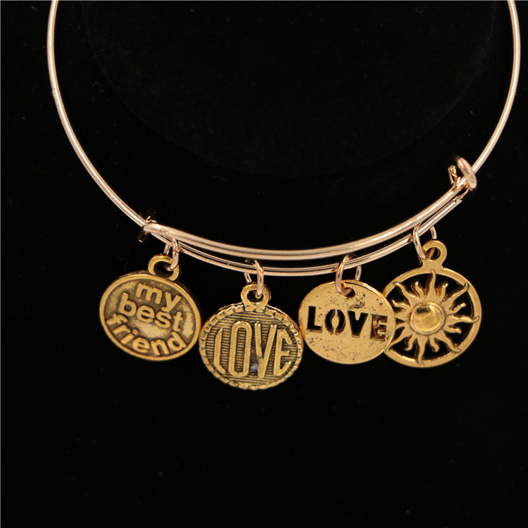24K Gold Charms Adjustable Wire Bracelet Bangles for Woman Girls